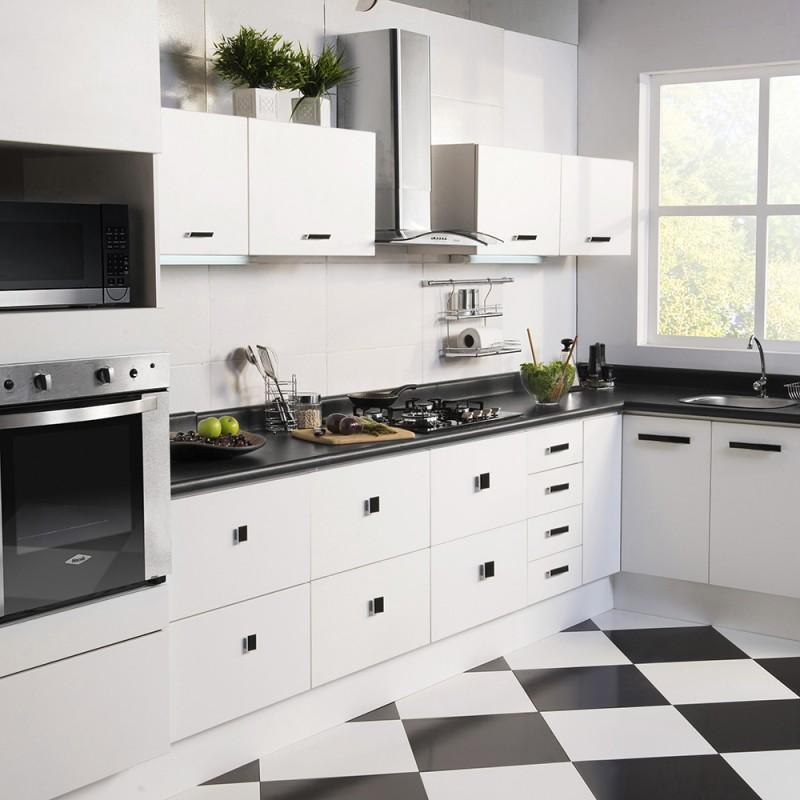 Suelos de damero en blanco y negro - Vidrio templado cocina ...